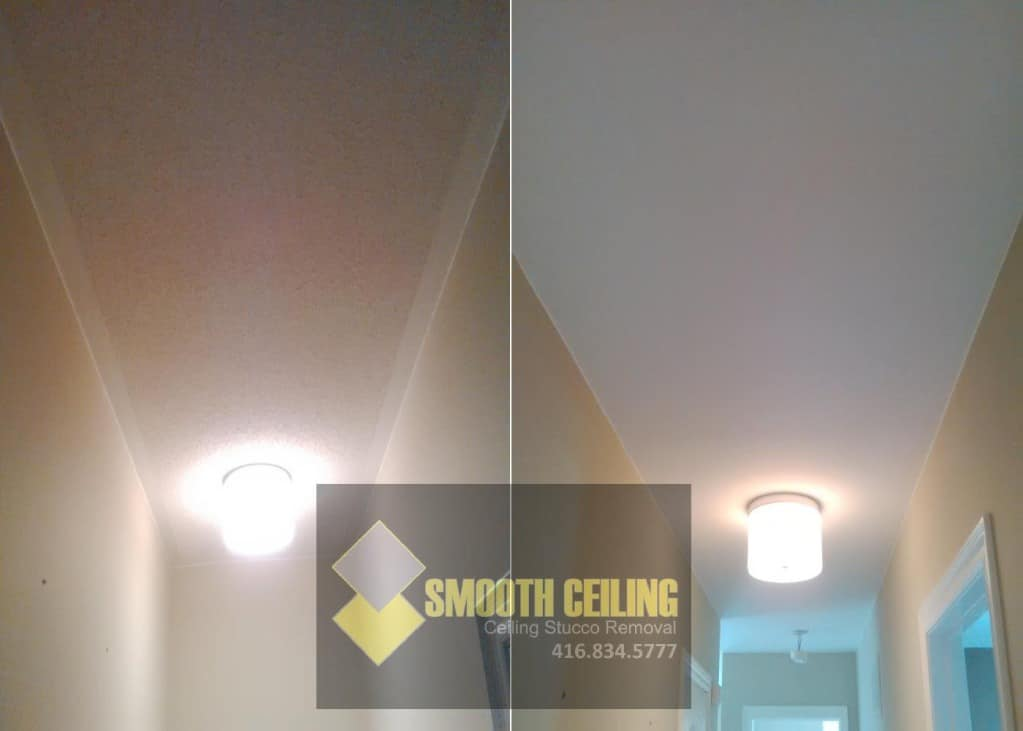 before and after ceiling repair job