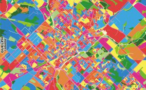 Guelph, Ontario, Canada, colorful vector map